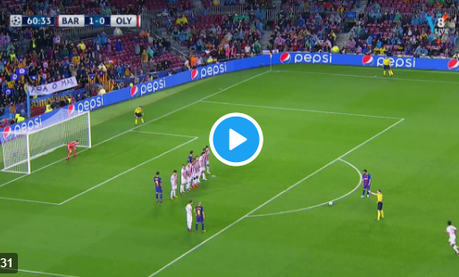 GOAL: Proto krijgt de 100e Europese treffer van Messi tegen na vrije trap