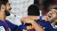 Imagen: André Gomes reta a Luis Suárez, Denis y a Semedo