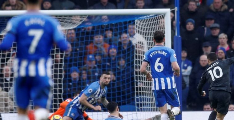 Chelsea wint ruim in Brighton, Hazard andermaal de grote man bij The Blues