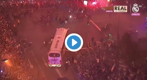 Ongelooflijke beelden: uitzinnige Real Madrid-fans wachten spelersbus op