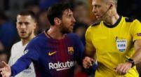 """Imagen: La conversación entre Messi y Skomina durante el partido: """"No me hables mal"""""""