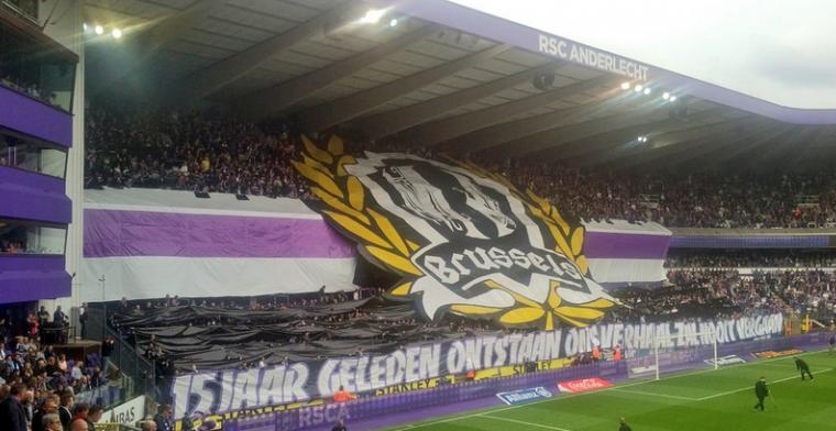Anderlecht-supporters beginnen aan topper met knappe tifo