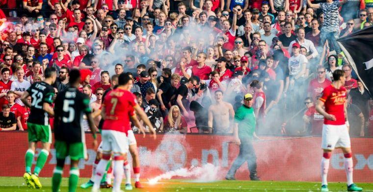 AZ-fans slopen grasmat van Feyenoord: Het gaat door merg en been
