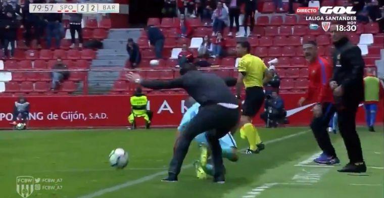 HUH? Barcelona-talent wordt getackled door... coach van tegenpartij!