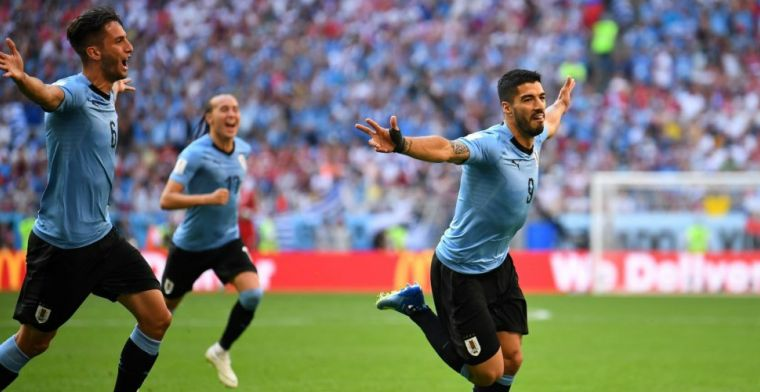 Uruguay wint Groep A na zege op Rusland; Saudi-Arabië verslaat Egypte