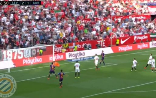 Nummer 35 (!) tegen Sevilla: Messi legt de bal met 'verkeerd' been in de kruising