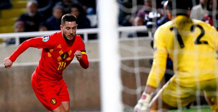 Hazard leidt Rode Duivels in honderdste interland naar zege tegen Cyprus