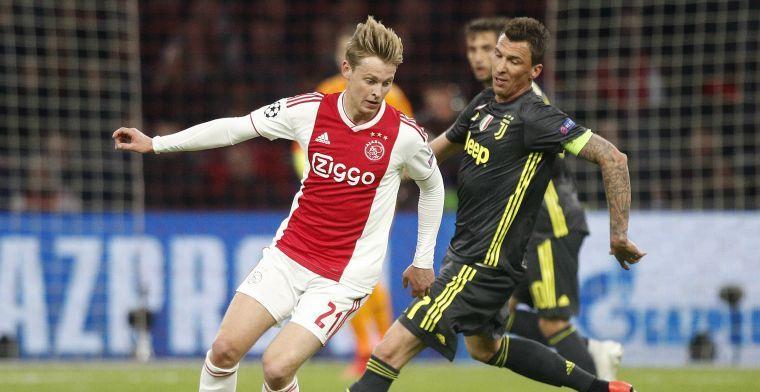 Zorgen bij Ajax, De Jong valt geblesseerd uit voor treffen tegen Juventus