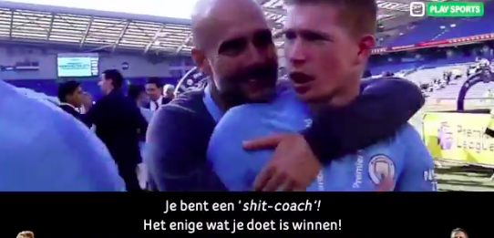 De Bruyne dolt met coach Guardiola tijdens titelviering: 'You're a shitcoach'