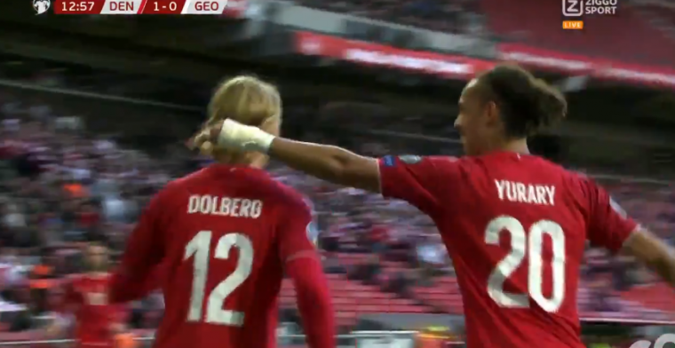 Dolberg wél on fire bij Denemarken: twee treffers tegen Georgië