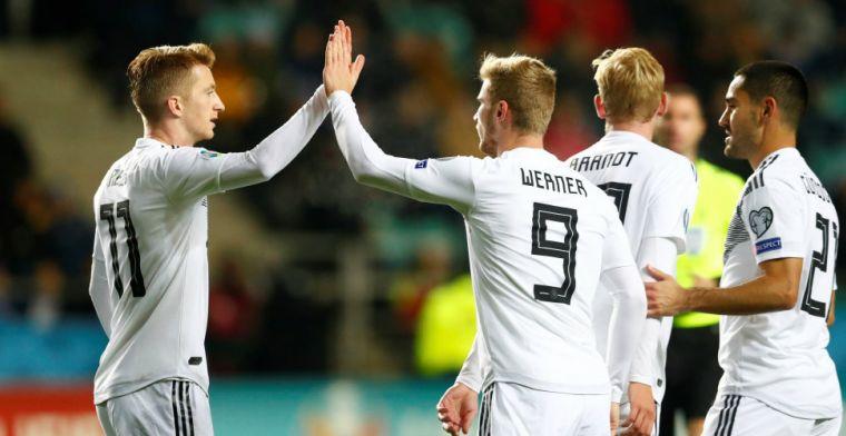 Duitsland loopt ondanks vroege rode kaart uit naar een simpele zege tegen Estland