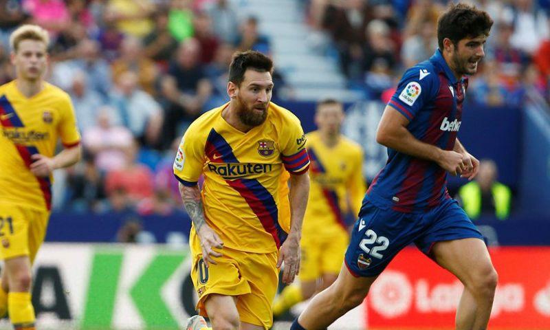 Afbeelding: Zeven doldwaze minuten van Levante doen mijlpaal van linkspoot Messi ondersneeuwen