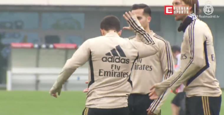 Hoopgevende beelden uit Madrid, ploeggenoten van Real klappen voor Hazard