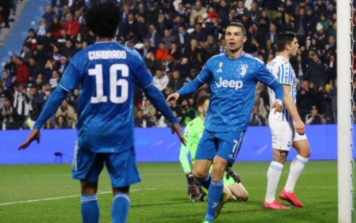 De Ligt ziet jubileumgoal Ronaldo vanaf de bank, valt in en wint krap met Juventus