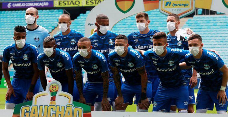 Brazilianen protesteren tegen bond en komen met mondkapjes om het veld op