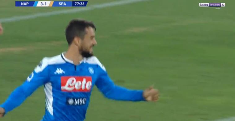 Younes maakt eerste goal van het seizoen voor Napoli, met het hoofd