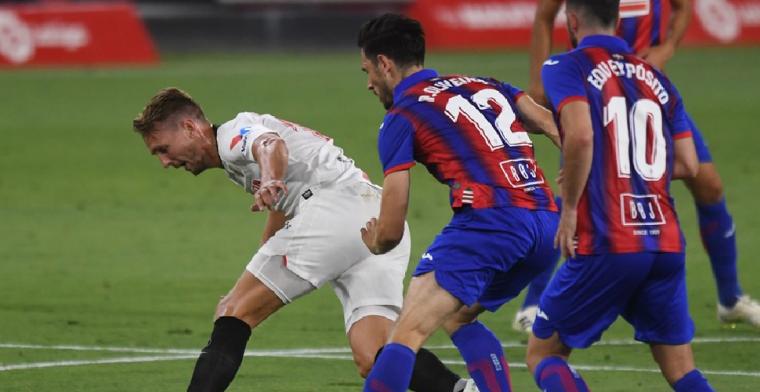 Sevilla mag nog hopen op Champions League, De Jong vroeg gewisseld