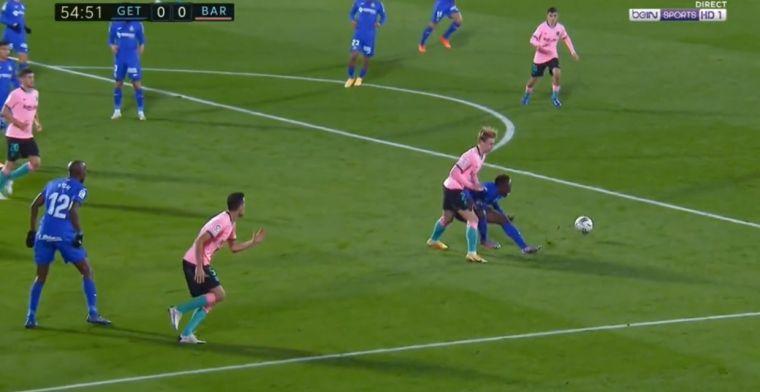 GOAL: Lichte overtreding De Jong, bal op de stip: Getafe op voorsprong tegen Barça