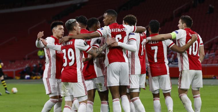 Ajax staat met één been in kwartfinale na zeer eenzijdige wedstrijd
