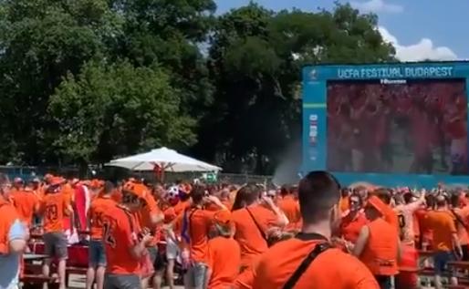 Lekkere beelden uit Boedapest: Nederlandse fanzone kleurt volledig oranje