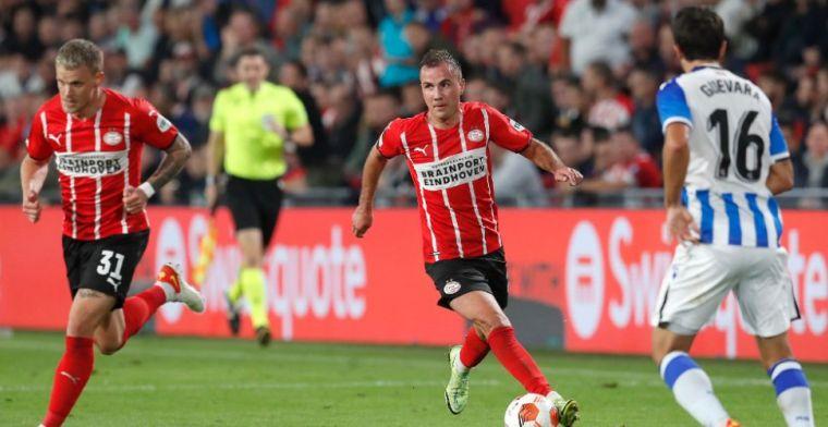 PSV ontsnapt in blessuretijd tegen Sociedad, Götze helpt zijn ploeg aan punt