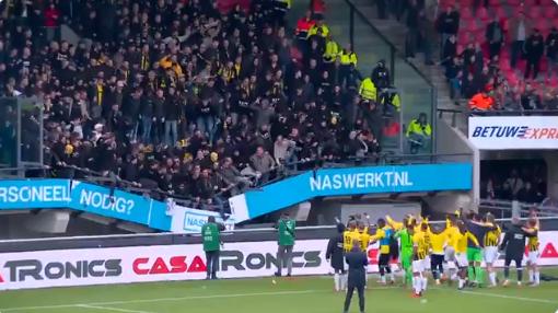 Schrikken in Nijmegen: tribune van uitvak zakt in na derby tussen NEC en Vitesse
